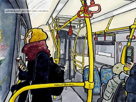 On a bus M8, on Yauzskaya Street