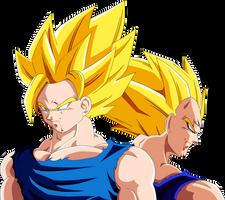 Goku and Majin Vegeta (Redrawn) by Majin-Ryan