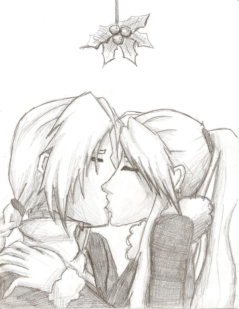 Ed x Winry - Mistle Toe by happyzuko