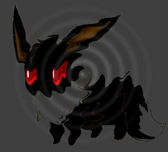 Shadow Eevee, Rippling Water by shewolfzoroark