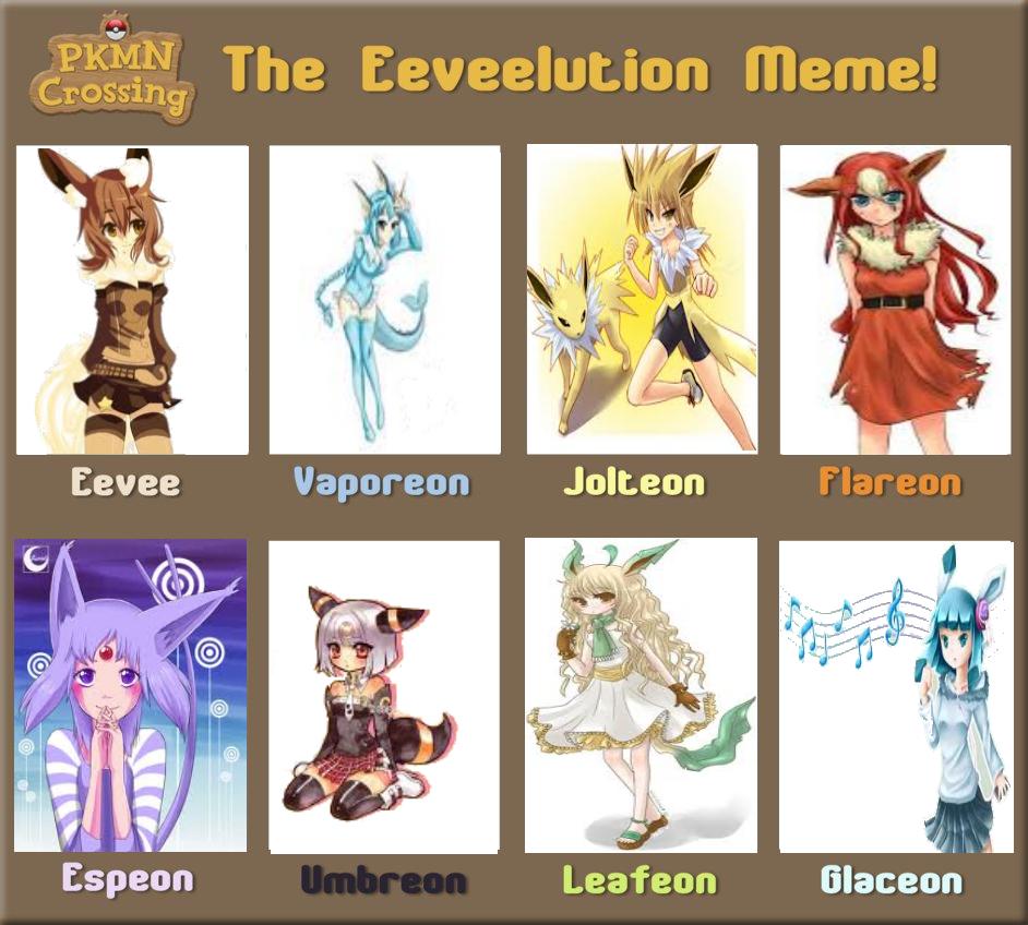 Kitta's Eeveelution Meme by shewolfzoroark