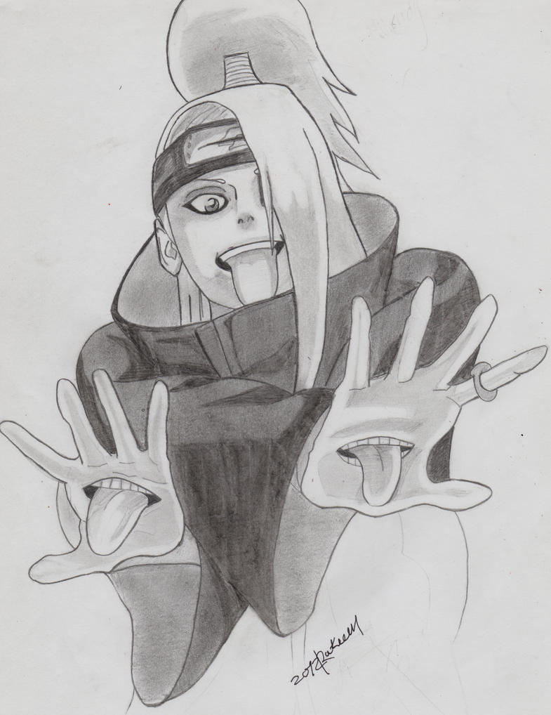 Deidara pencil drawing by EKUSASxISxGOD