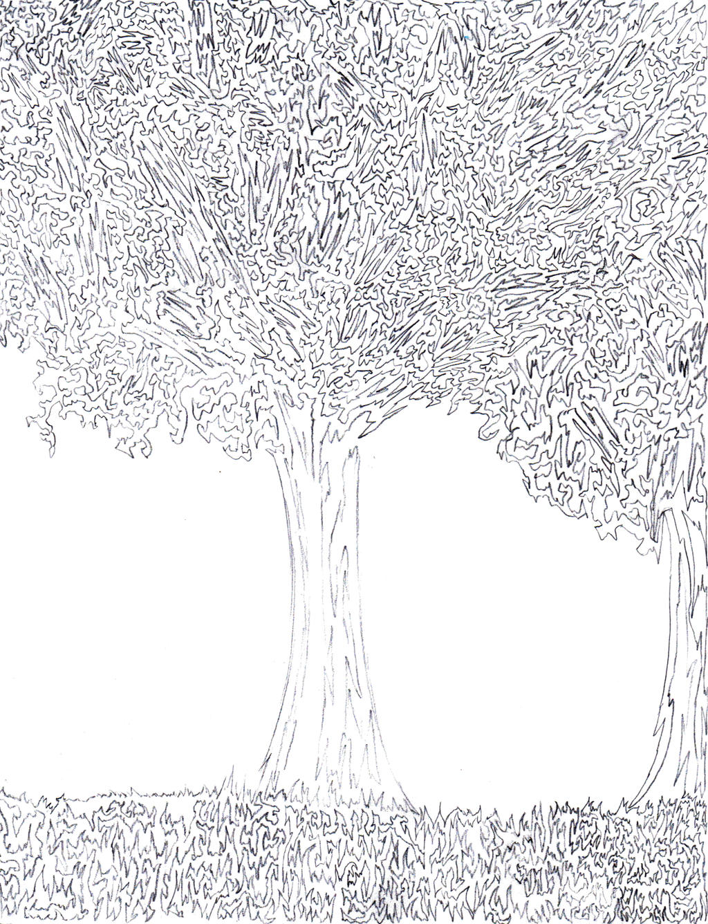 Line Drawing Grass : One line trees and grass by bewaretheides on deviantart