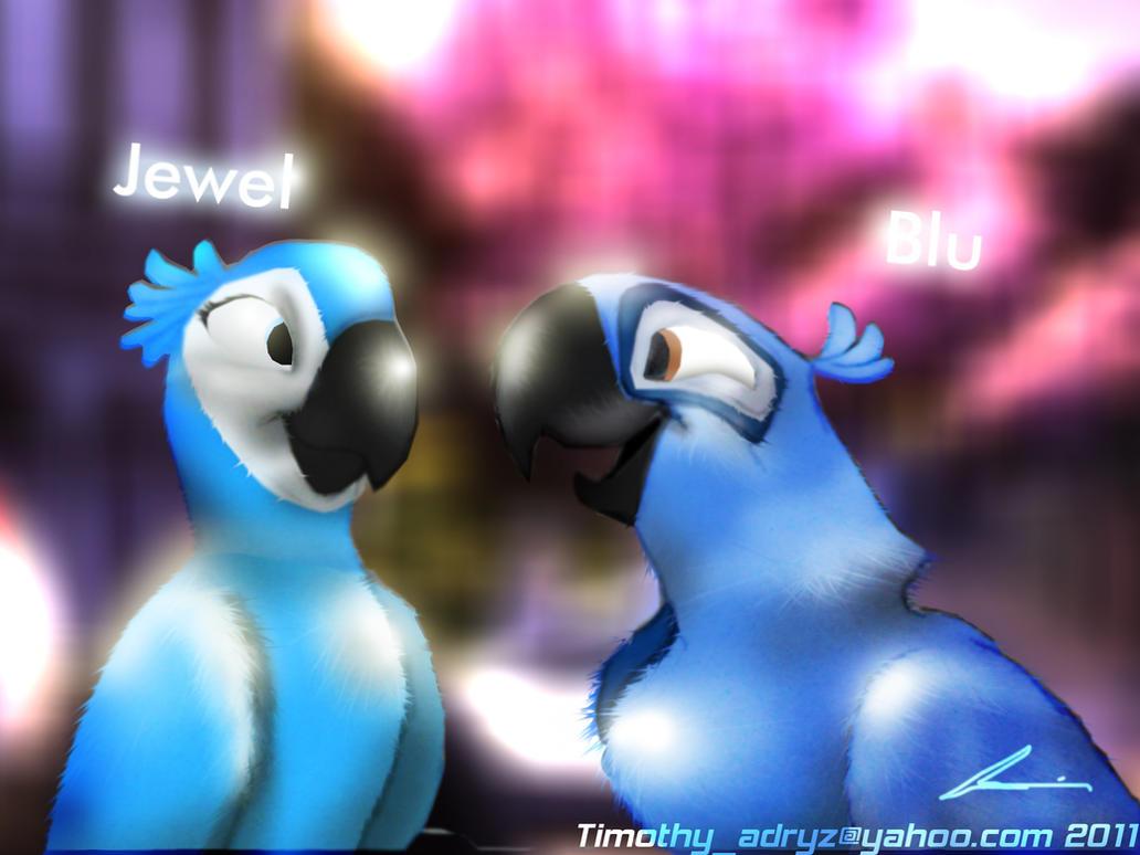 Jewel And Blu Love Birds by Adry53