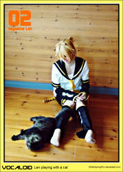 Vocaloid: kagamine Len playing with a cat by WhiteSpringPro