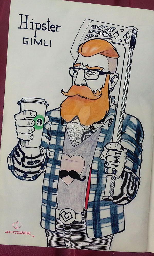 Inktober 2014 - Day 23 - Hipster Gimli by Ejeda