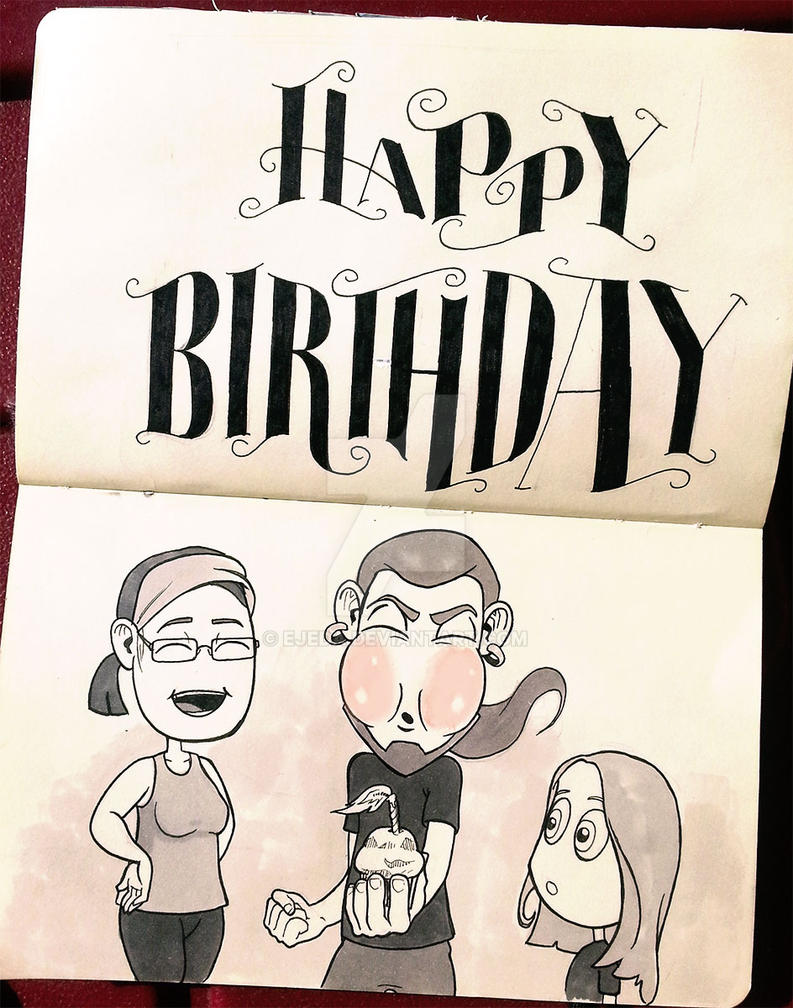 Inktober 2014 - Day 25 - Happy Birthay! by Ejeda