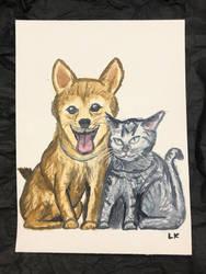 Shiba and Neko Painting