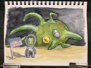 A Kerbal and the Deep Space Kraken