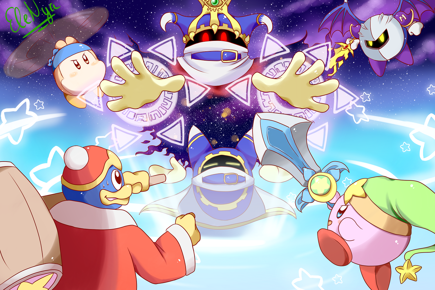 Nya Kirby Wallpaper: Kirby And Friends Vs Magolor By Ele-nya On DeviantArt
