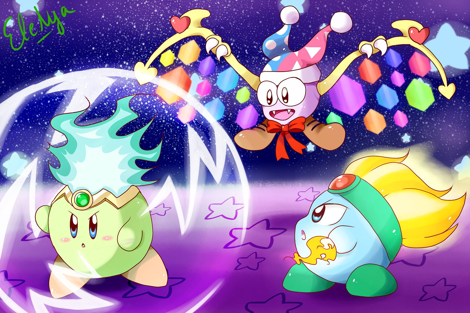 Nya Kirby Wallpaper: Kirby And Leo Vs Marx By Ele-nya On DeviantArt