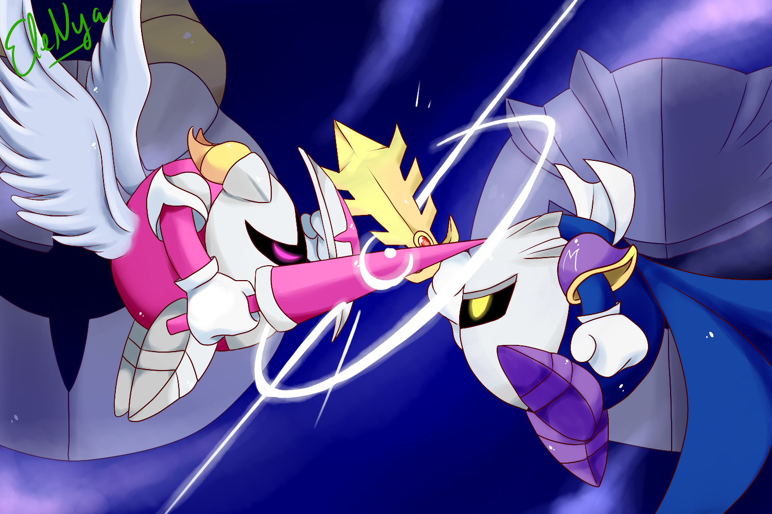 Nya Kirby Wallpaper: Meta Knight Vs Galacta Knight By Ele-nya On DeviantArt