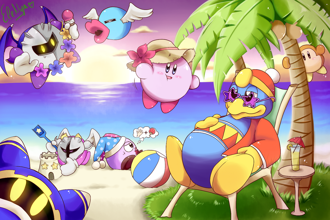 Nya Kirby Wallpaper: Kirby And Friends At The Beach By Ele-nya On DeviantArt