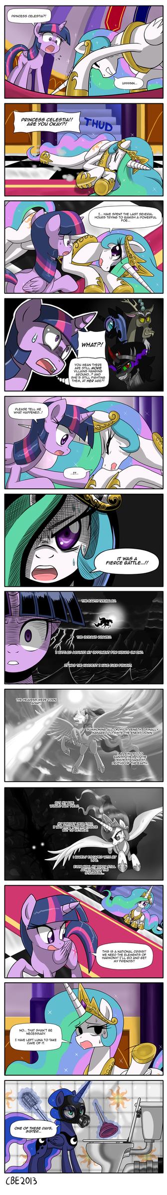 Princess Celestia's battle by CrimsonBugEye