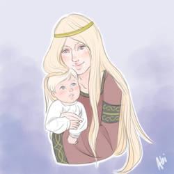 Queen Rhaenys Targaryen and Baby Aenys I by abiiibabejpeg