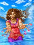 Marihara-- Lei in the Ocean (colored)