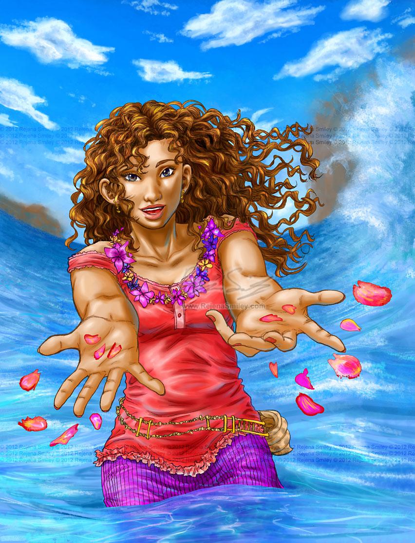 Marihara-- Lei in the Ocean (colored) by genaminna