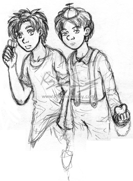 Arnie and Arnold sketch-- my style (Hey Arnold!) by genaminna