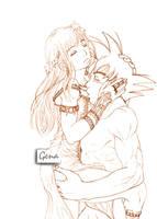 Goku + Chichi--lineart by genaminna