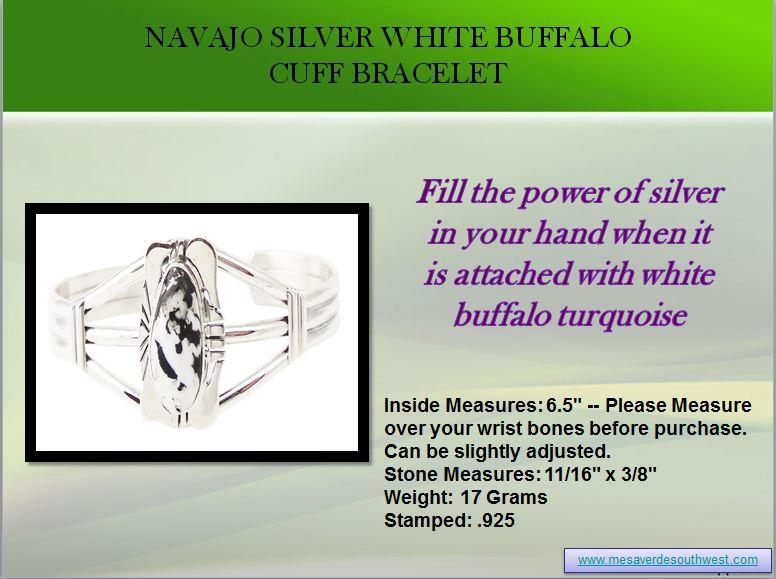Navajo Silver White Buffalo Cuff Bracelet by mesaverde1