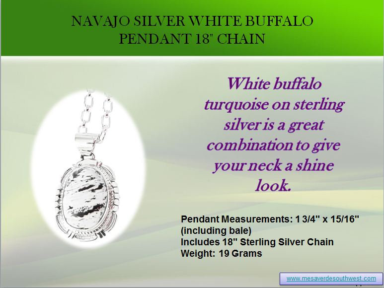 Navajo Silver White Buffalo Pendant 18 Chain by mesaverde1
