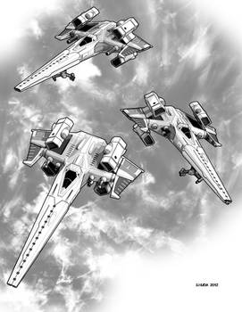Jack of Harts F-12 Avenger starfighters Assembled by MedronPryde
