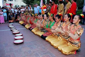 Indonesian Children's Folk Dance Show On Street. by bigzoso