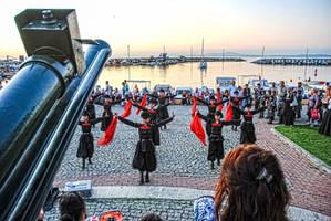 Caucasian Children's Folk Dance Show On Street. by bigzoso