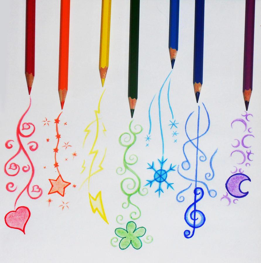Рисунки поэтапно цветными ручками