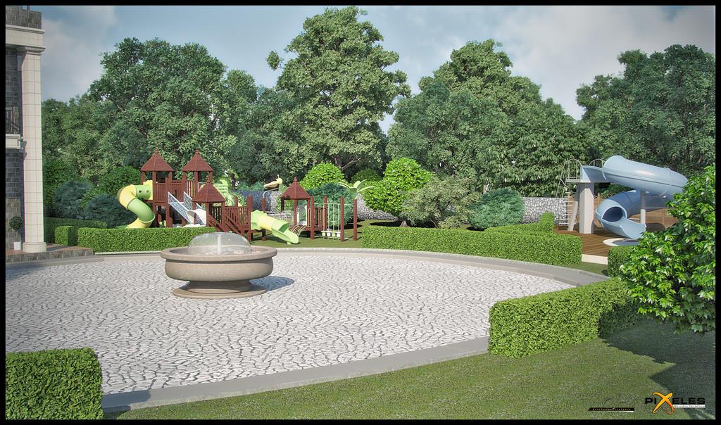 Renders en 3ds max 2012 con vray 2 0 sp1 y photoshop cs5 for Pool garden mountain resort argao