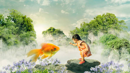 Cute baby fishing