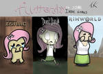 Fluttershy in three indie game styles