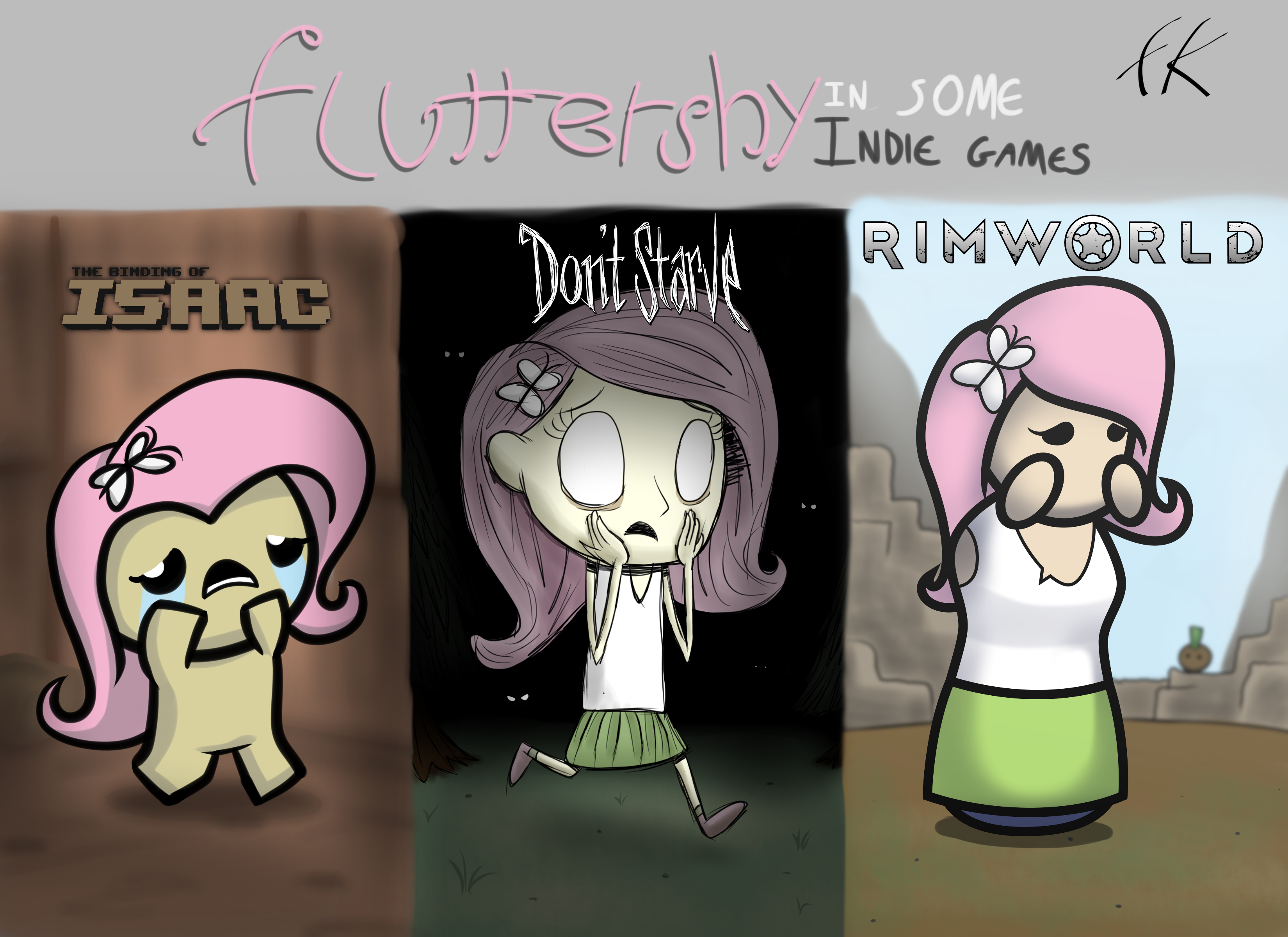 Fluttershy in three indie game styles by FluttzKrieg