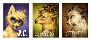 Badges - J.C., Emerald, Strife