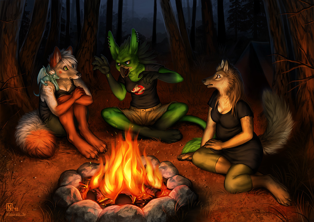 Creeps By The Campfire by NimraisCampfire Painting