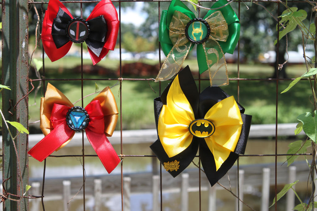 Deadpool, Loki, Ironman and Batman Hair Bows by Shezu-Rivera