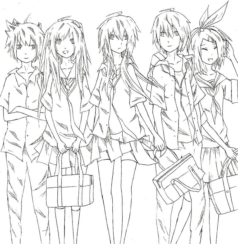 Line Art Group : Vocaloid gakuen lineart by mendouna on deviantart