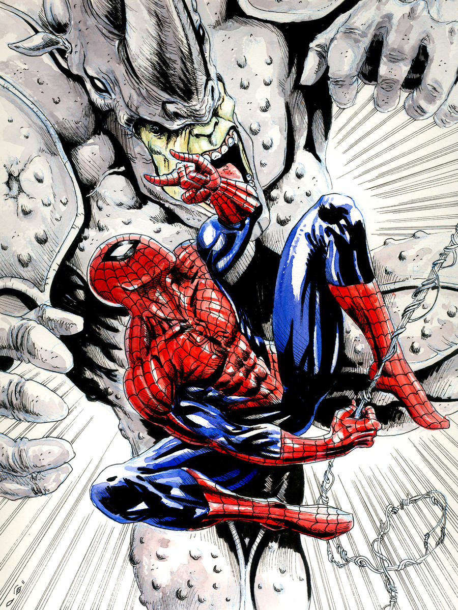 Sinister Syndicate : Rhino Vs Spiderman by emalterre
