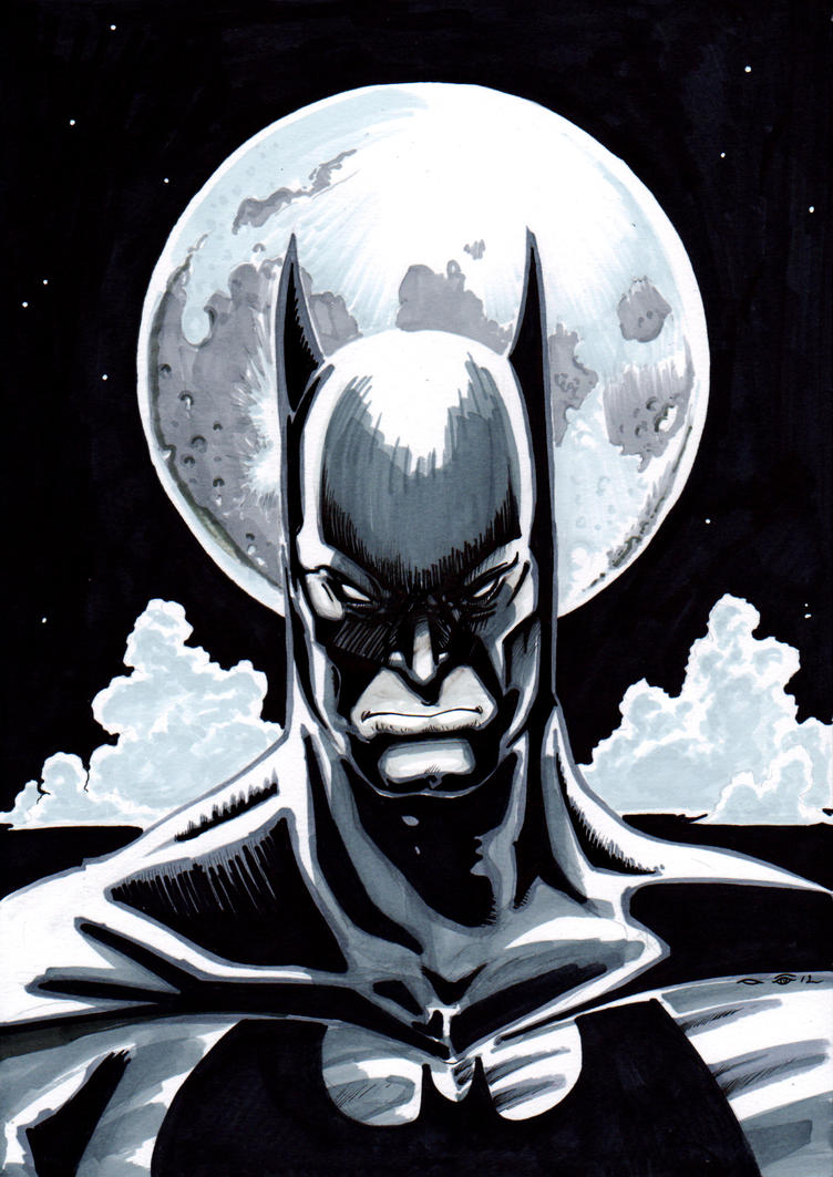Batman with the moon by emalterre