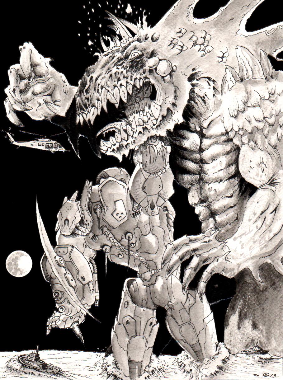 DND paris : Giant Robot VS Giant Monster by emalterre