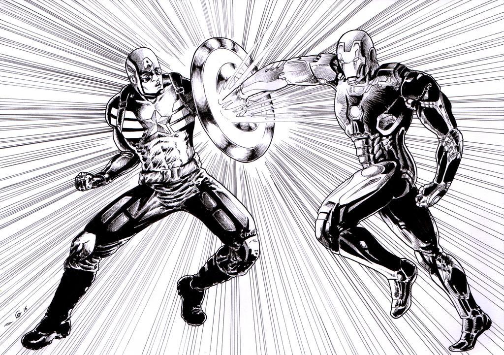 Civil War : Captain America Vs Iron Man by emalterre