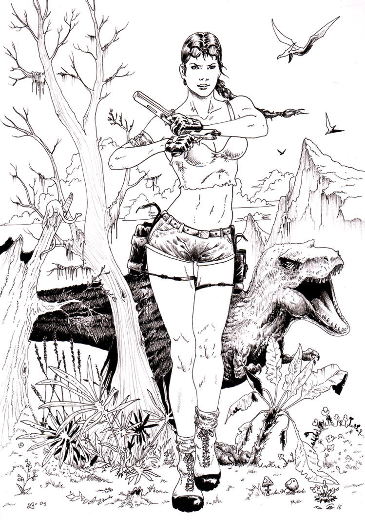 Lara Croft and Dinosaurs by emalterre