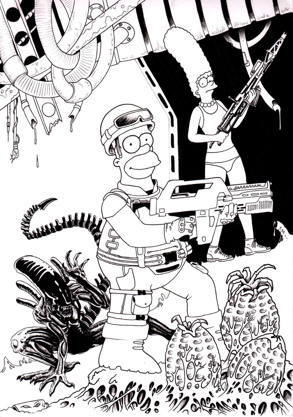 Simpsons Vs Alien by emalterre