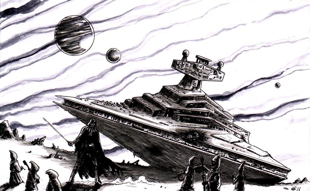 Darth Vador defending Interstellar Cruiser wreck by emalterre