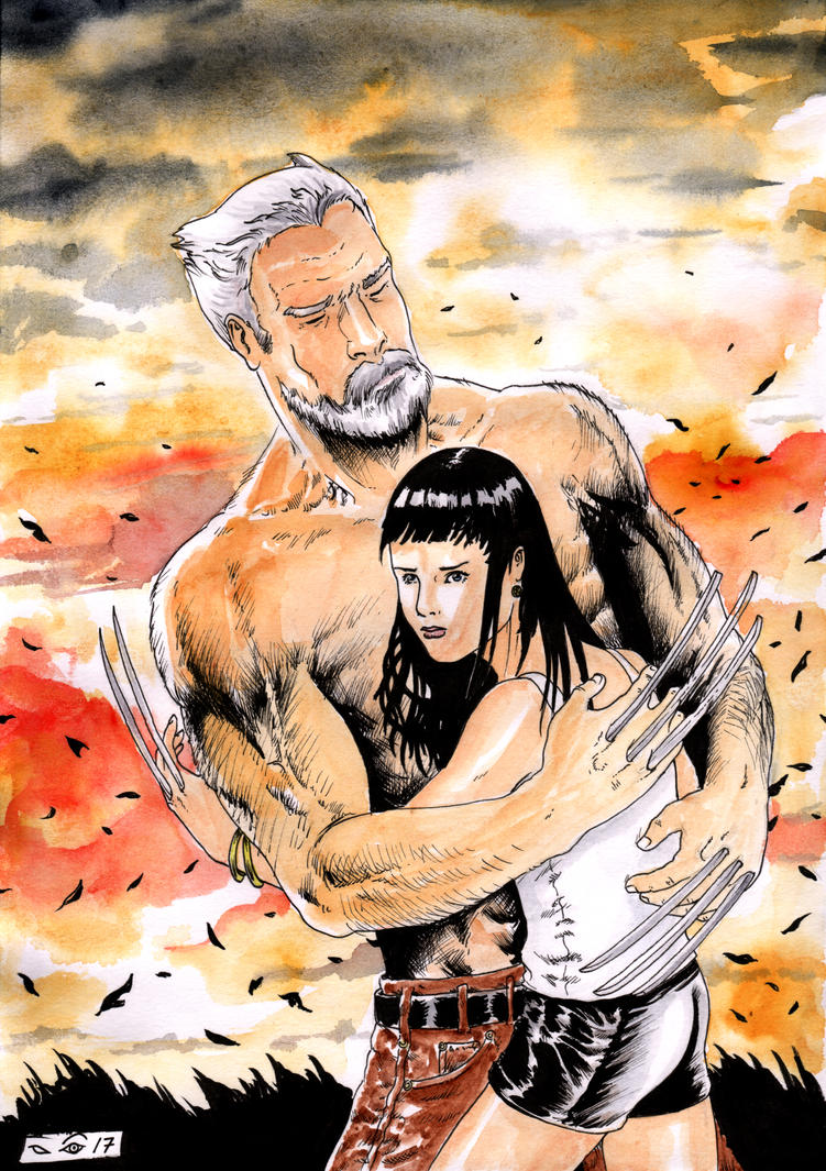 Old Man Logan and X-23 cuddle by emalterre