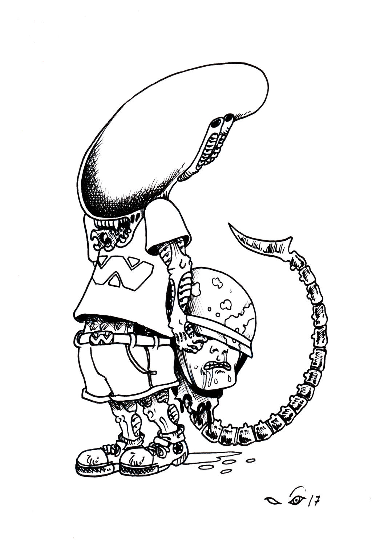 Little Alien with marine's head by emalterre