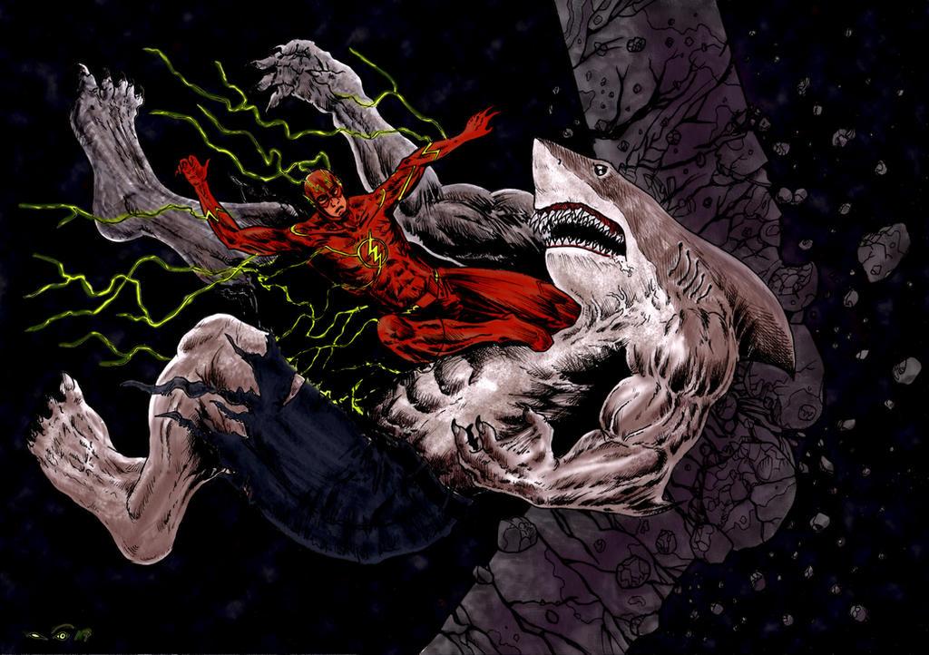 Flash Vs King Shark by emalterre