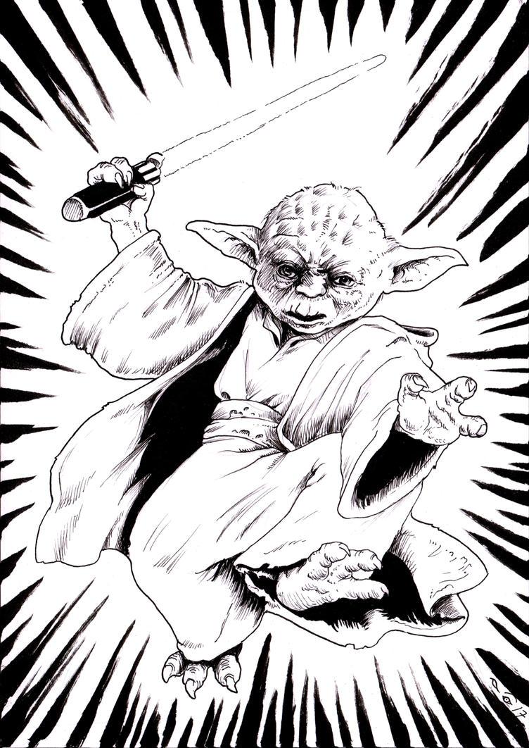 Falling Yoda by emalterre