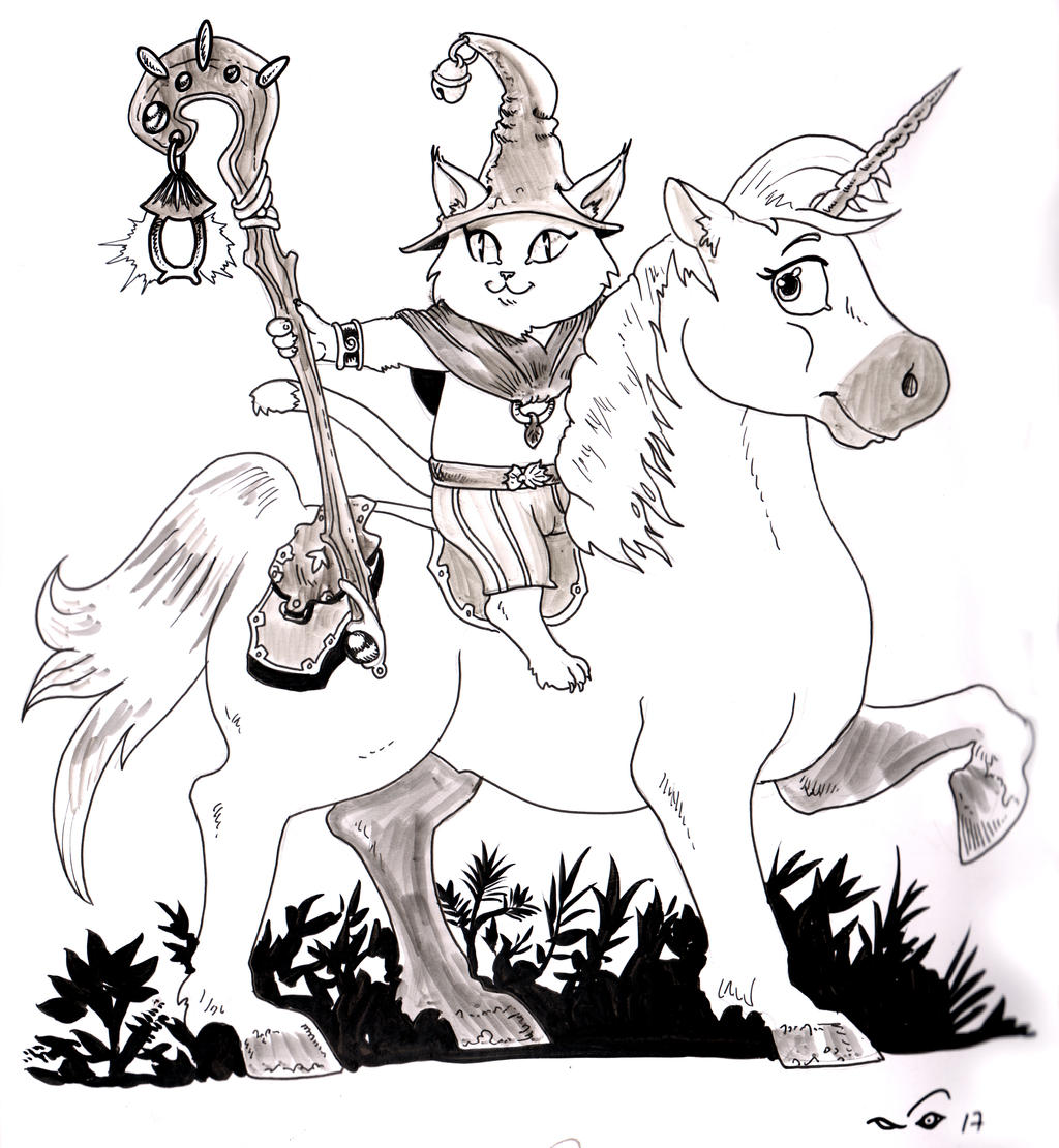 Wizard Cat and unicorn by emalterre