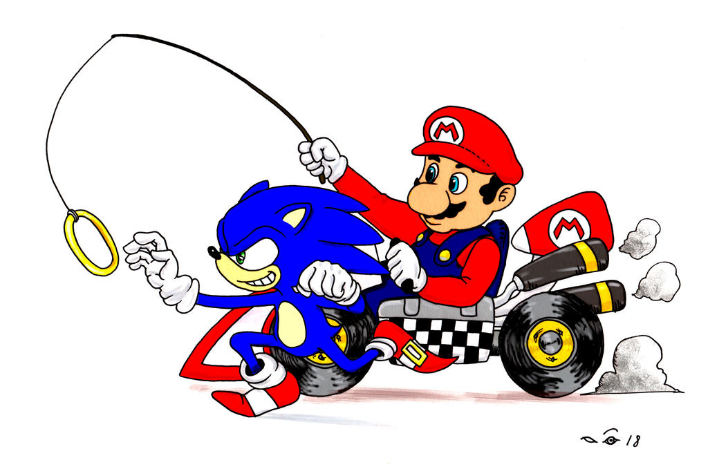 Mario and Sonic by emalterre
